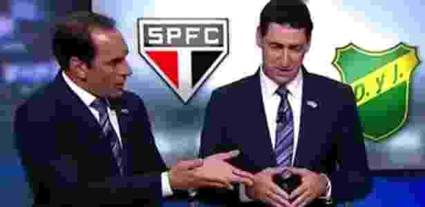 Visivelmente irritado, Edmundo (à esquerda) discutiu ao vivo com PVC (centro)  - Reprodução/FoxSports - Reprodução/FoxSports