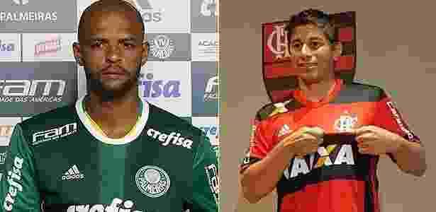 Flamengo Palmeiras Conca Felipe Melo - Montagem BOL - Montagem BOL