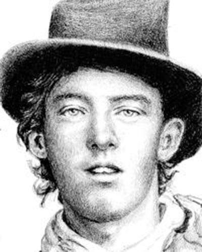 """Billy the Kid, apelido de William Henry McCarty, foi um famoso fora da lei que atuava no sudoeste dos Estados Unidos. Billy era especialista em roubo de cavalos e gado, e acredita-se que ele tenha matado cerca de dez pessoas, apesar de haver uma lenda que diz que ele """"matou uma pessoa para cada ano de vida"""". The Kid (""""o garoto"""") fez jus ao apelido, e foi morto com apenas 21 anos de idade, em 1881, pelo xerife Pat Garrett"""