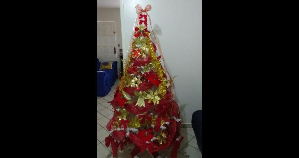 """Vonemberg Rodrigues Rosa, de Goiânia (GO), conta: """"Envio minha árvore que montei em três noites.. rsrs"""""""