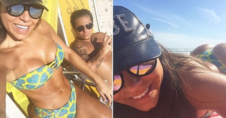 """1.nov.2015 - Thammy Miranda apareceu sem camiseta ao lado da namorada, Andressa Ferreira, que fez o clique da foto e postou no Instagram. Na imagem à esquerda, o casal aparece retocando o bronzeado em uma praia do Rio de Janeiro. Andressa (dir.) também fez questão de registrar uma selfie curtindo o dia de descanso. """"Tudo perfeito por aqui... Sol e amor!"""", escreveu a bela na legenda da foto."""
