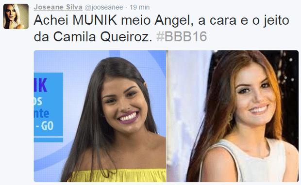"""19.jan.2016 - Outro internauta também achou a participante Munik muito parecida com a atriz Camila Queiroz, de """"Verdade Secretas"""" e atualmente, atriz de """"Êta Mundo Bom!"""""""