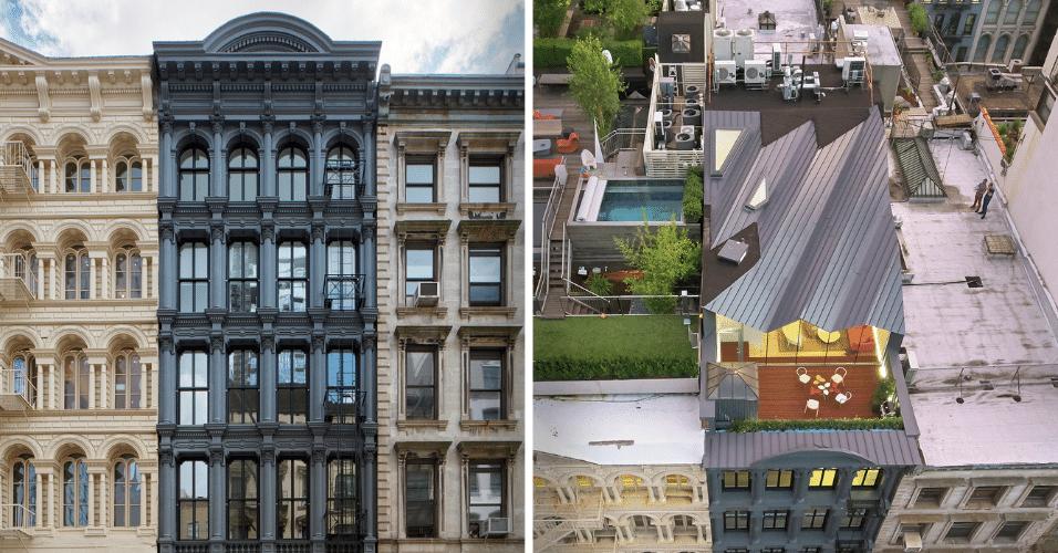 6.mar.2017 - Fotos de ângulos diferentes mostram a fachada do The Stealth Building, vista da rua e do alto