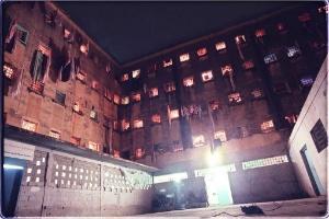 Vista noturna do pavilhão 5 da Casa de Detenção Carandiru, considerado o mais populoso do presídio