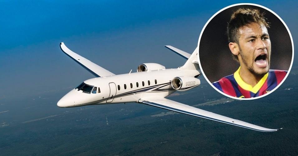 10. Neymar comprou um Cessna Citation Sovereign, com capacidade para 12 passageiros e autonomia de voo de 5,2 mil quilômetros. Valor estimado: US$ 18 milhões