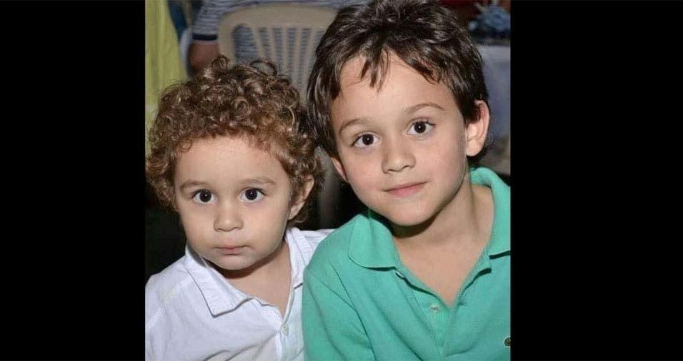 Marco e Andreia, de Três Corações (MG), enviaram foto dos filhos Matheus e Diego