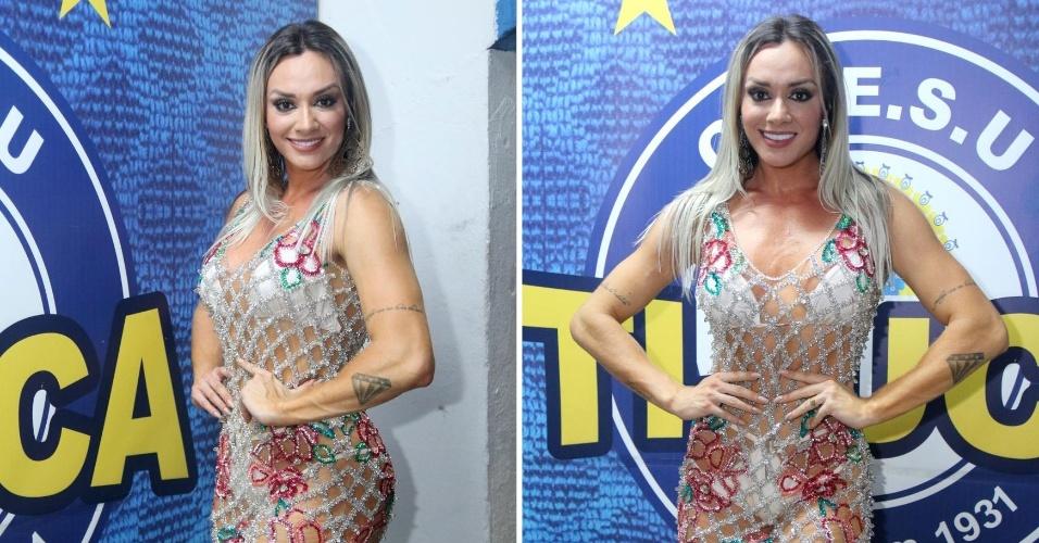 16.out.2016 - A modelo Juju Salimeni caprichou no visual para a festa da escola de samba Unidos da Tijuca. Com um vestido transparente, a ex-panicat mostrou o corpo e chamou a atenção com as coxas torneadas