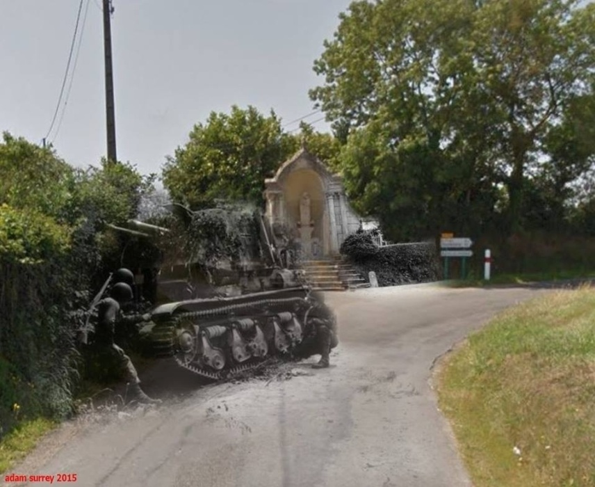 24.nov.2015 - Tropas norte-americanas inspecionam um tanque alemão na França. Na imagem, é possível ver o mesmo local nos dias de hoje
