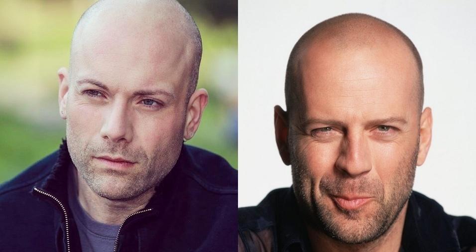 """3. Bruce Willis - Giampiero Rinaldi é escritor, fotógrafo, e sósia do ator americano Bruce Willis, famoso por atuar em filmes de ação como """"Duro de Matar"""".  Giampiero participa de papéis como dublê de Bruce"""