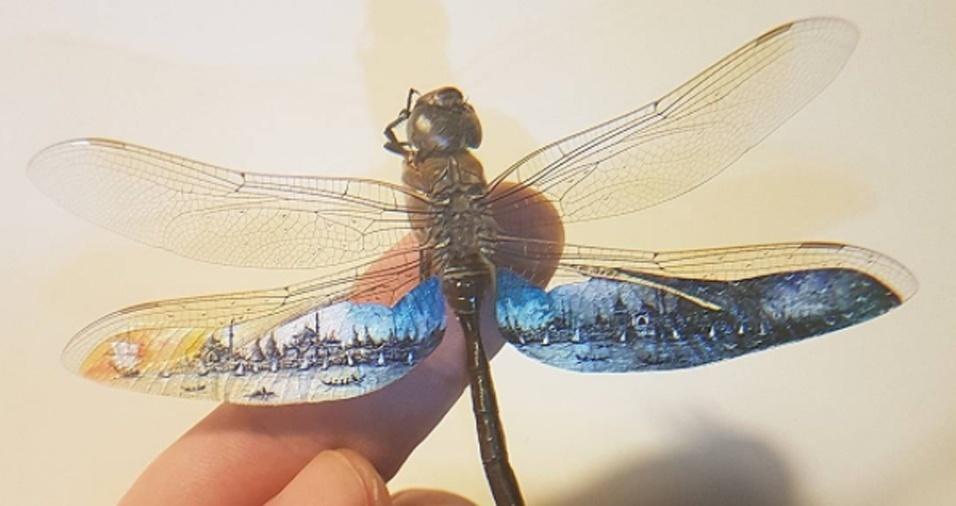 """8. Nem as asas de uma libélula passam """"em branco"""" quando Hasan Kale está por perto. Ele aproveitou a """"tela"""" para fazer uma pintura que vai do dia para a noite de uma ponta a outra das asas do inseto"""