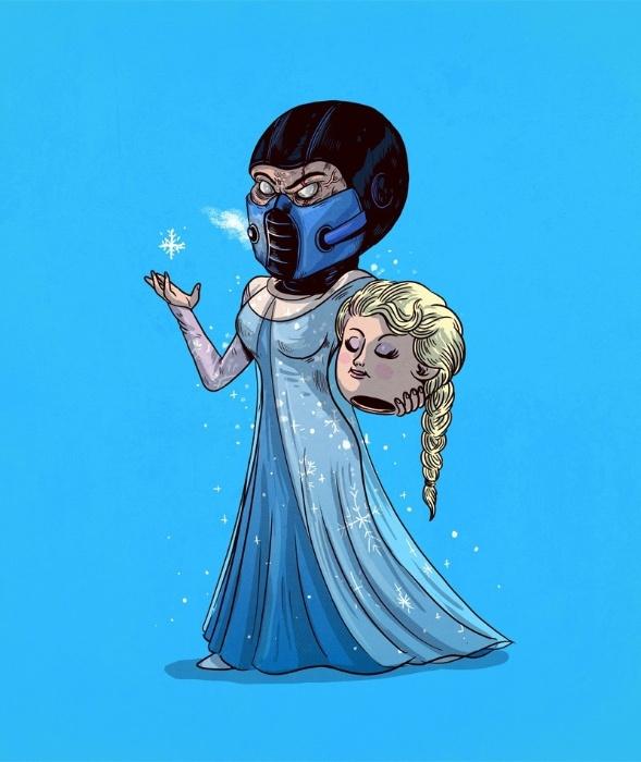 """21.out.2015 - Unidos pelo frio, a princesa Elsa, de """"Frozen"""", não passa de um personagem elaborado do maligno Sub-Zero, de """"Mortal Kombat"""""""