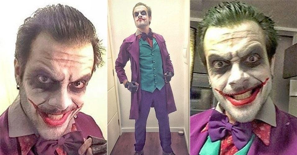 """5.jun.2016 - O ex-BBB Max Porto, vencedor a 9ª edição do reality da TV Globo, se fantasiou de Coringa para curtir uma festa. Ao compartilhar o resultado da montagem do figurino na web, o ex-BBB disse que seu sonho era encarnar o arqui-inimigo de Batman. """"Sonho realizado, fantasia completa, personagem encarnado e muita diversão!"""", escreveu no Instagram"""