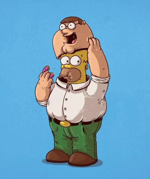 21.out.2015 - Depois de anos de comparações e montagens pela internet, a confirmação, Peter Griffin e Homer Simpson realmente são a mesma pessoa
