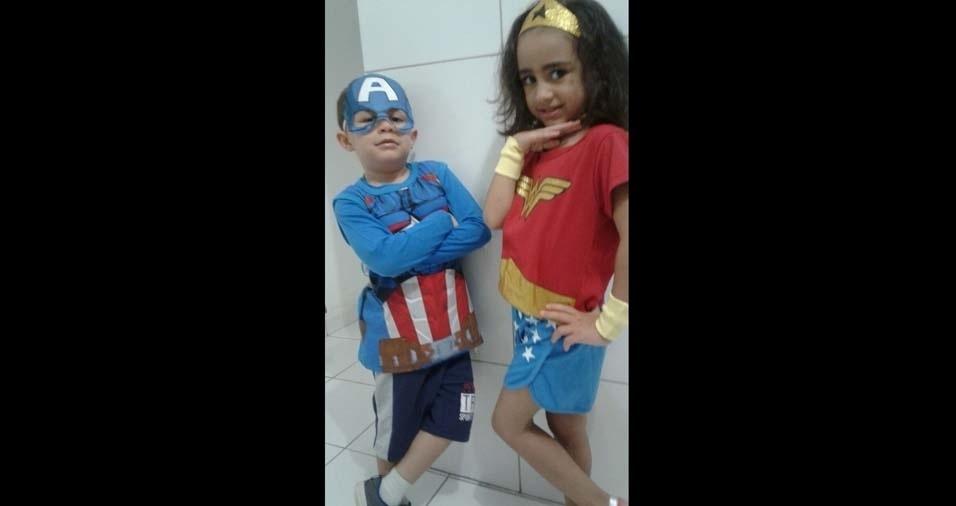 Gislene, São José dos Campos (SP), enviou foto dos filhos Júlia e Pedro