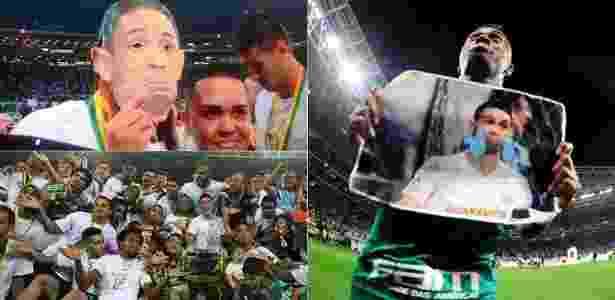 Máscaras de Ricardo Oliveira marcam jogo importante para Palmeiras e Santos - Montagem BOL / Reprodução/Twitter