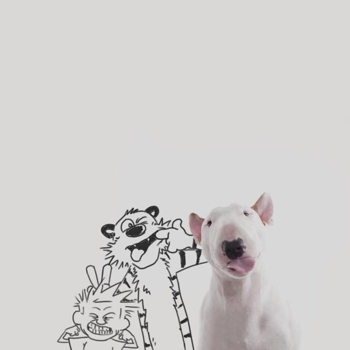 9.dez.2015 - Calvin e Haroldo brincam com o bull terrier Jimmy Choo em ilustração do brasileiro Rafael Mantesso