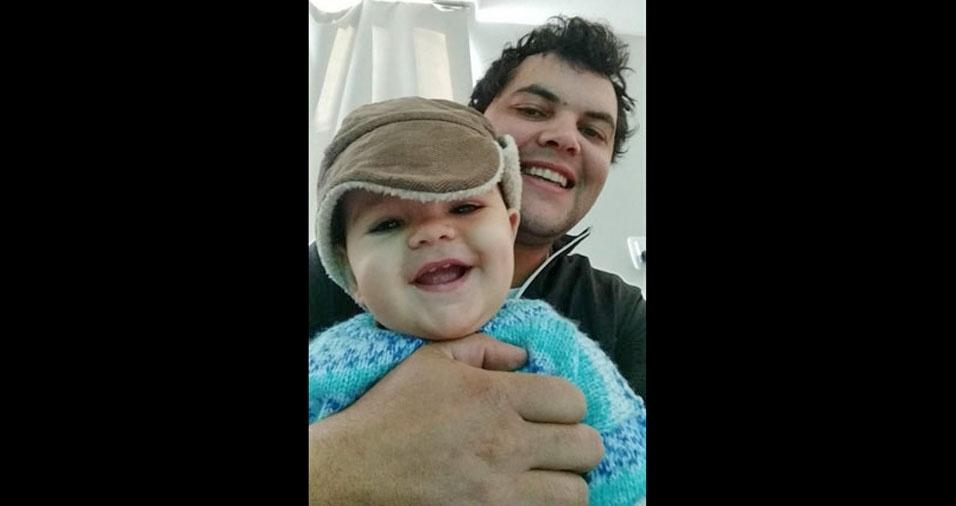 Papai Marcos Veigas com seu filho Vinicius