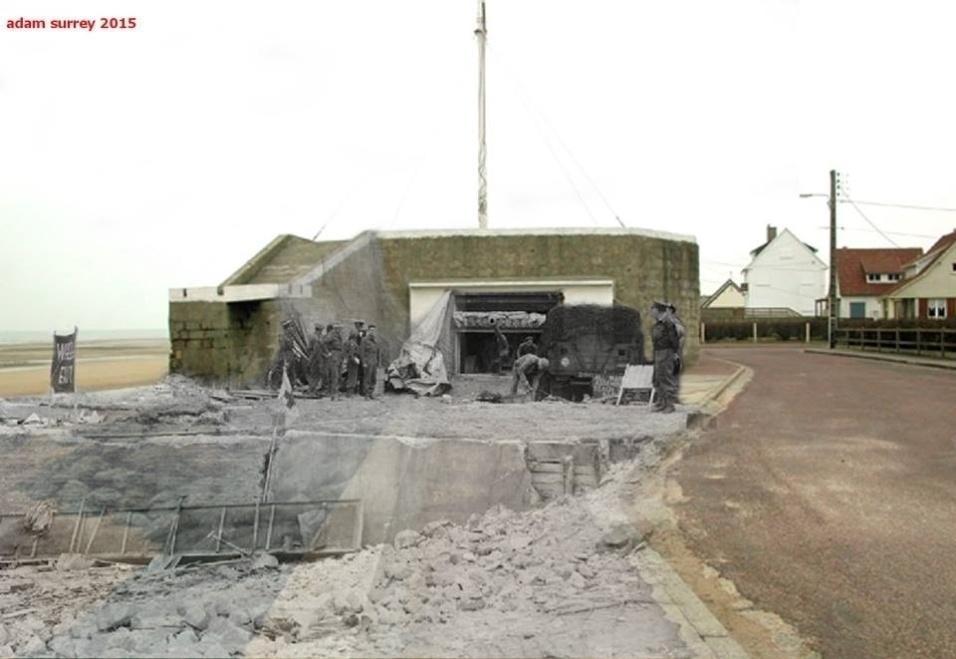 24.nov.2015 - Exército britânico examina uma casa em La Riviere, no Canadá. A foto antiga é de 1944