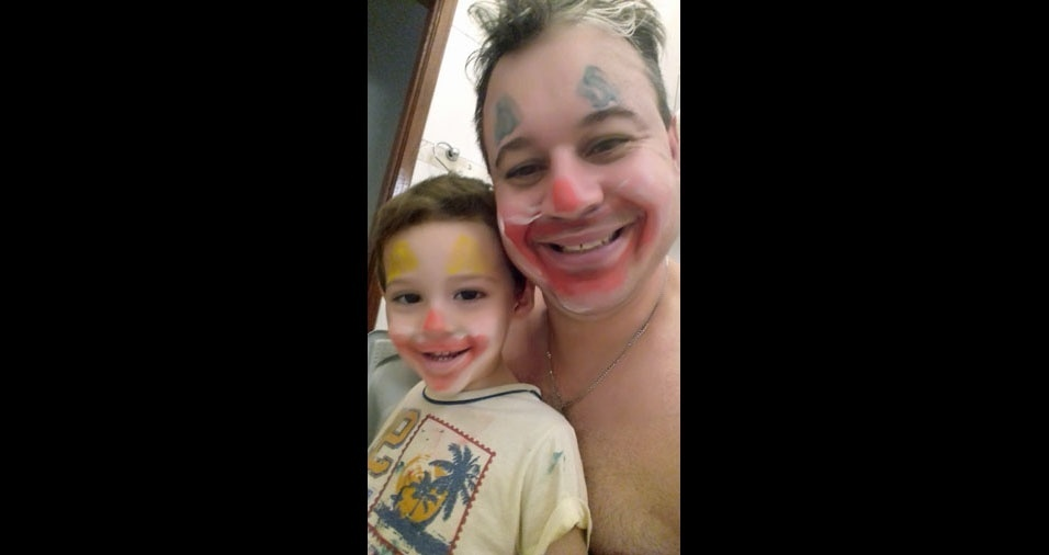 Papai Fábio com o filho Miguel, de Ouroeste (SP)