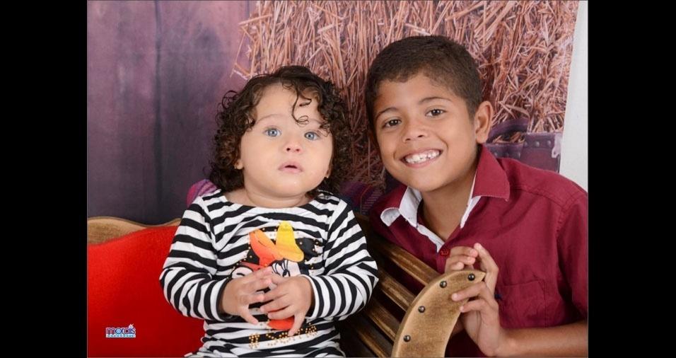 Estevão, oito anos, e Isabella, um ano, são os filhos da Elisangela Vaz Morais e do Leonardo Nunes Morais, de Pinheiro Machado (RS)