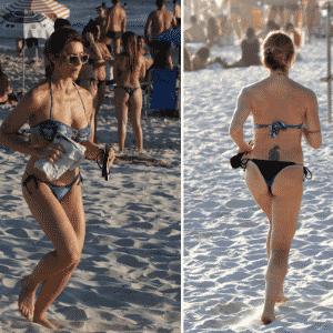 29.dez.2016 - Aos 43 anos, Letícia Spiller mostrou que continua em forma em uma tarde de exercícios na praia da Barra da Tijuca, no Rio de Janeiro. A atriz foi fotografada correndo pela areia da praia usando um biquíni e não se intimidou com o fotógrafo ou os olhares dos banhistas no local - AgNews