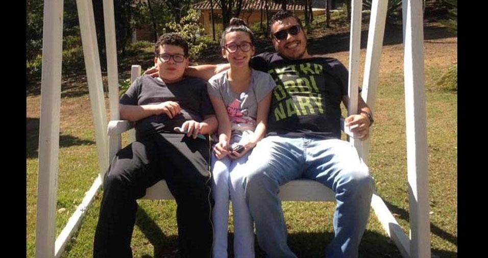 Wilson com seus amados filhos Larissa e Lucas, de Descalvado Ibiúna (SP)