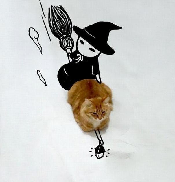 7.dez.2015 - Aqui, o gatinho aparece como mascote de uma bruxinha