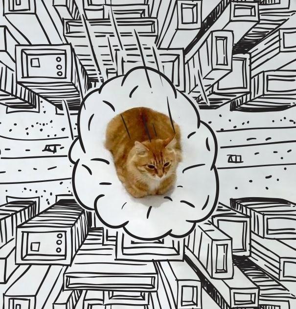 7.dez.2015 - Em um desenho mais elaborado, o gatinho aparece flutuando em uma nuvem sobre a cidade
