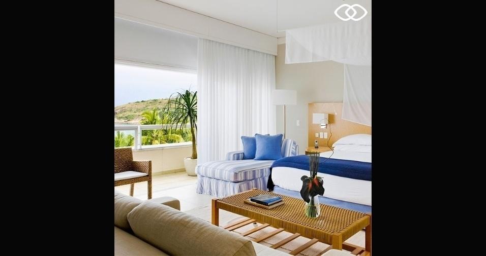 Um dos dormitórios do hotel