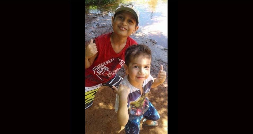 Delania e Jailton, de São Paulo (SP), enviaram foto dos filhos Pedro, de oito anos, e Vinícius, de três anos