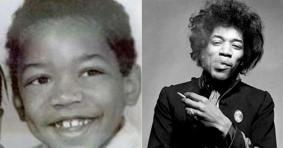 27.jul.2015 - Imagem mostra o antes e o depois de Jimi Hendrix