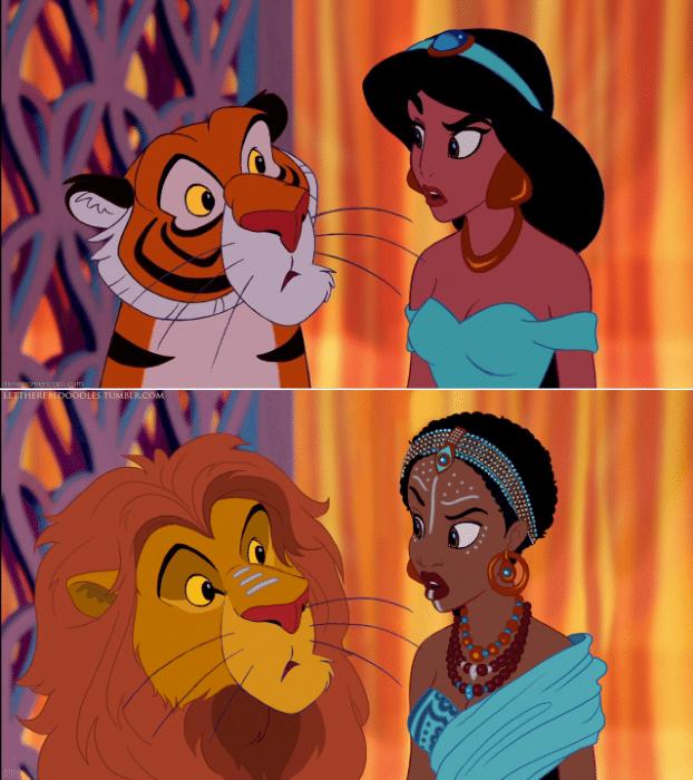 """6.jan.2016 - Até mesmo Jasmine, de """"Aladdin"""" (1992), fez suas malas e mudou de terras, do oriente médio para a África, de quebra, o tigre Rajah ficou muito parecido com Simba, de """"Rei Leão"""" (1994)"""