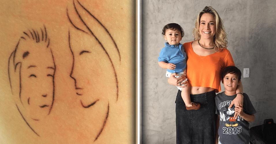 """26.jan.2017 - Fernanda Gentil mostrou em seu Instagram a tatuagem que fez em homenagem aos filhos Gabriel, 1, e Lucas, 9. """"A mãe cuidando dos dois em um; manchinha do Gabriel e covinha do Lucas"""", explicou a apresentadora, que reuniu características dos dois filhos no desenho"""