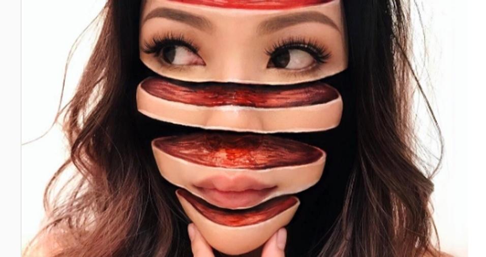 """3. Algumas das maquiagens feitas por Mimi, como esta aqui, tornaram-se virais nas redes sociais. Em entrevista para a """"Allure"""", a artista explicou que busca inspiração no cotidiano e tenta não acompanhar trabalhos de outros maquiadores para conseguir desafiar a si mesma na criação de efeitos originais"""