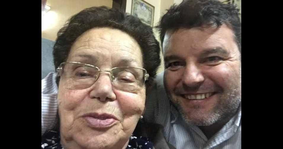 Fabiano Dal Castel com a avó Pedrolina Munerolli, de Carazinho (RS)