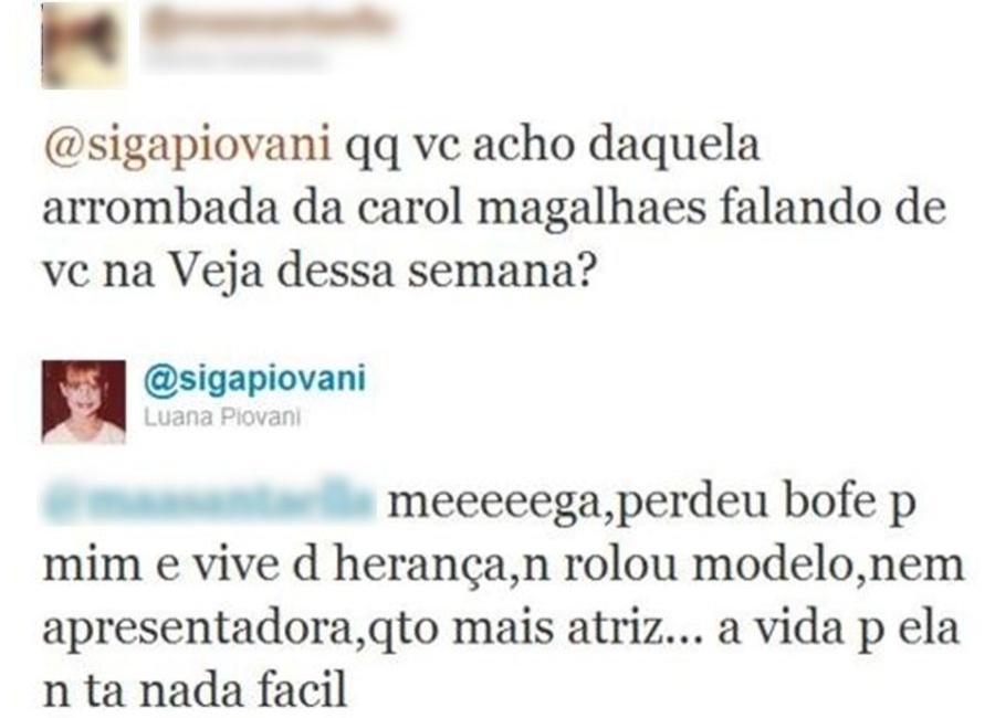 Luana Piovani fechou sua conta no Twitter, que tinha mais de 300 mil seguidores, mas marcou a rede social com uma série de posts polêmicos e respostas ácidas aos usuários da rede. No post, Luana comenta com uma seguidora as declarações de Carol Magalhães sobre ela.