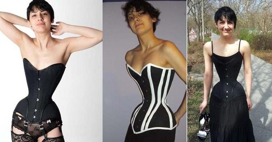 10.jun.2013 - Michele Kobke, de 24 anos, tem uma cintura exageradamente fina. Há três anos, a alemã, que vive em Berlim, passou a usar corselete todos os dias e transformou seus 64 centímetros de cintura em apenas 40 cm.