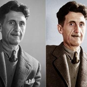 """George Orwell, escritor e jornalista inglês, conhecido pela autoria de """"A Revolução dos Bichos"""" - Reprodução/Colorized History"""