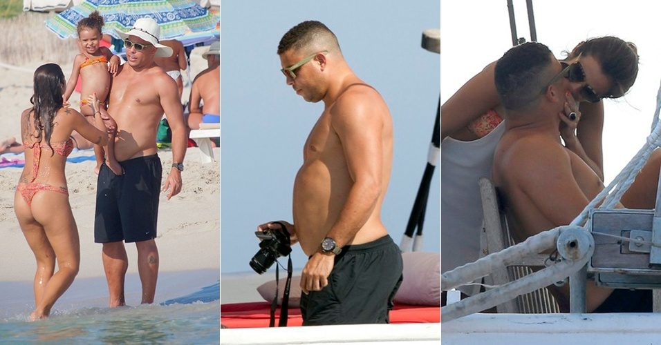 """23.jul.2013 - Durante férias em Ibiza, na Espanha, o ex-craque Ronaldo Fenômeno mostrou que está um """"pouquinho"""" fora de forma. Com uma barriguinha saliente, ele trocou beijos com a namorada, Paula Morais, e também aproveitou para registrar momentos da viagem com a sua família, com uma máquina fotográfica"""