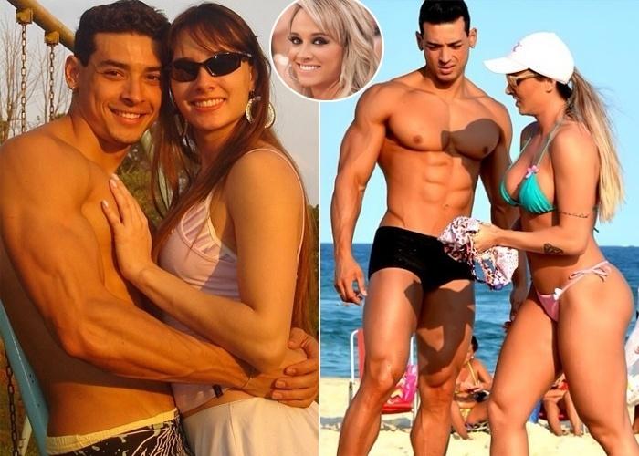 12.ago.2013 - Juju Salimeni divulgou uma imagem em que aparece irreconhecível ao lado do noivo, o professor de educação física Felipe Franco