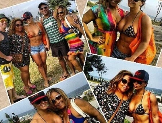 12.ago.2013 - Viviane Araújo divulgou no Instagram um mosaico de fotos em que aparece curtindo um dia de praia com amigos e familiares. De shortinho e biquíni, a rainha de bateria do Salgueiro exibiu o 'tanquinho' e o corpaço em forma - prova de que a dedicação à academia tem dado bons resultados para a gata.