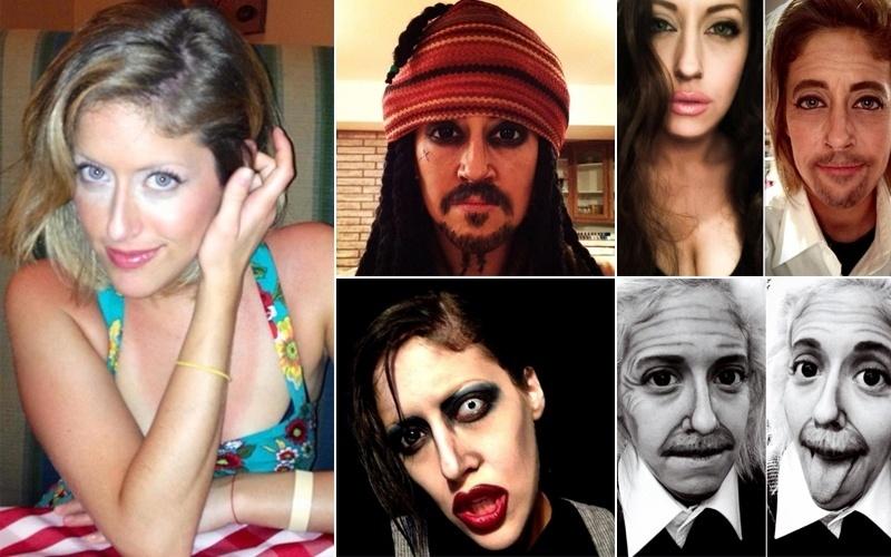 """13.ago.2013 - Carly Paige (esq.), de 26 anos,  aproveitou o fato de ser funcionária de uma famosa loja de cosméticos  e começou a brincar de se transformar em personagens e celebridades usando seu kit """"superpoderoso"""" de maquiagem. O resultado? A canadense provou que é uma artista - além de mostrar que não há limites para as suas transformações. Ela pode ser Jack Sparrow, de """"Piratas do Caribe"""", o músico e cantor Marilyn Manson, Brad Pitt, Albert Einstein e até as beldades Angelina Jolie e Megan Fox. A maquiadora também divulga outras """"pinturas"""" em sua página no Facebook. Confira as obras de Carly"""
