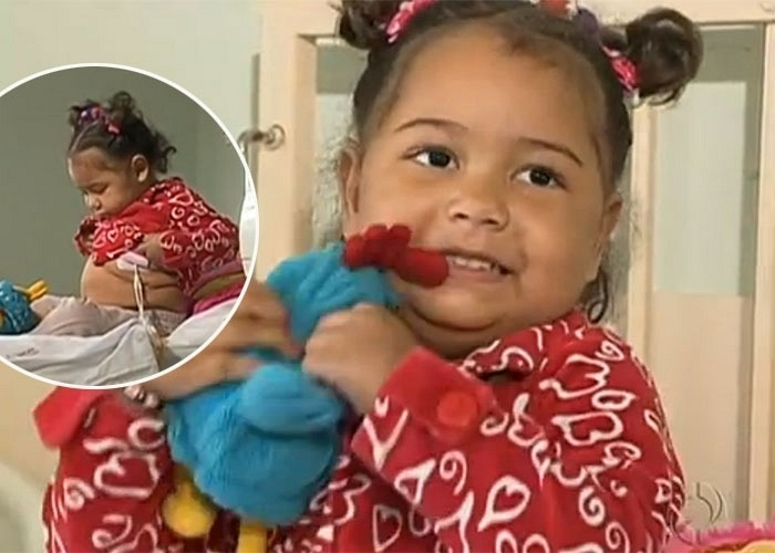 21.ago.2013 - Francine, uma menina de três anos, que está internada no Hospital de Clínicas (HC), em Curitiba, aguarda há mais de dois anos por um transplante de intestino. De acordo com reportagem do site ?G1?, a menina tem síndrome do intestino curto e, por isso, se alimenta por sonda há dois anos
