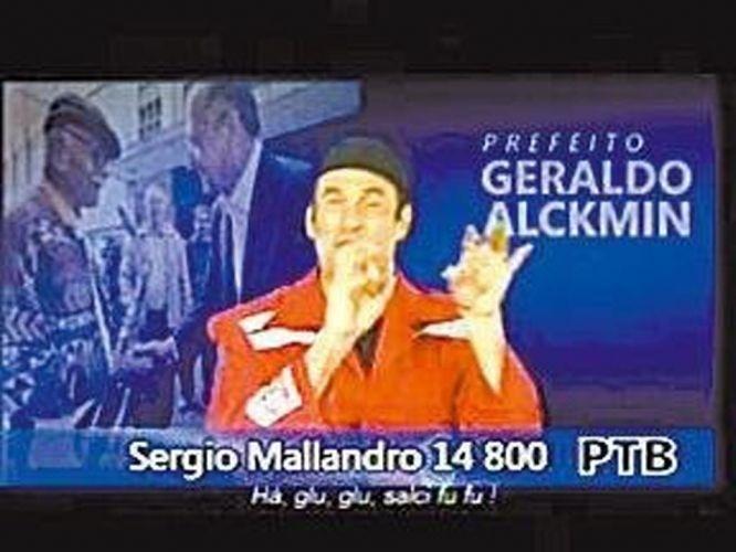 2008 - Imagem mostra trecho da campanha televisiva do humorista à uma vaga como vereador em São Paulo pelo partido PTB