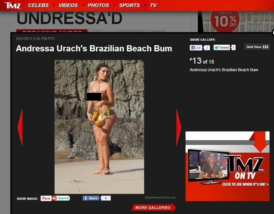 """26.set.2013 - Andressa Urach saiu, recentemente, de """"A Fazenda 6"""" e ganhou os holofotes mundo afora. A beldade foi notícia nesta quarta ao fazer topless em uma praia de Portugal. """"Você está olhando para o 2º melhor bumbum do Brasil. Sim, o segundo melhor - e que pertence a Andressa Urach. Em uma ida à praia em Portugal, ela decidiu fazer um pouco de topless"""", anunciou o site de celebridades internacional """"TMZ"""""""