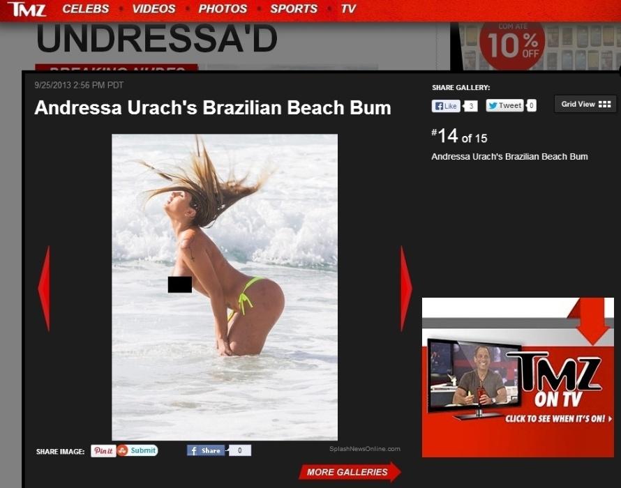 """26.set.2013 - Andressa Urach saiu, recentemente, de """"A Fazenda 6"""" e ganhou os holofotes mundo afora. A beldade foi notícia nesta quarta ao fazer topless em uma praia de Portugal. """"Você está olhando para o 2º melhor bumbum do Brasil. Sim, o segundo melhor - e que pertence a Andressa Urach. Em uma ida à praia em Portugal, ela decidiu fazer um pouco de topless"""", anunciou o site """"TMZ"""""""