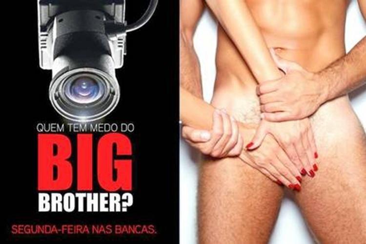 """30.set.2013 - A imagem mostra peça publicitária sobre ensaio de Kelly Baron, que ficou confinada na casa de vidro do """"Big Brother Brasil 13"""" e virou estrela em Portugal ao participar do """"Big Brother Vip"""". A foto exibe pose provocante da brasileira com o namorado português"""