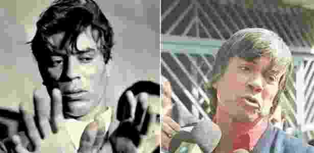 2.set.2013 - À esquerda, Luz Vermelha exibe algemas após ser capturado em 1967; à direita, o criminoso durante entrevista em 27 de agosto de 1997, quando saiu da prisão. - Cícero Oliveira Neto - ago.67/Folhapress, Leonardo Colosso/Folhapress
