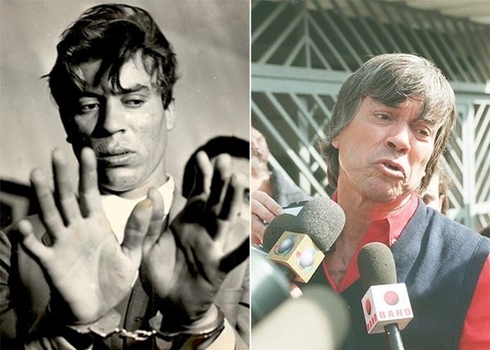 2.set.2013 - À esquerda, Luz Vermelha exibe algemas após ser capturado em 1967; à direita, o criminoso durante entrevista em 27 de agosto de 1997, quando saiu da prisão.