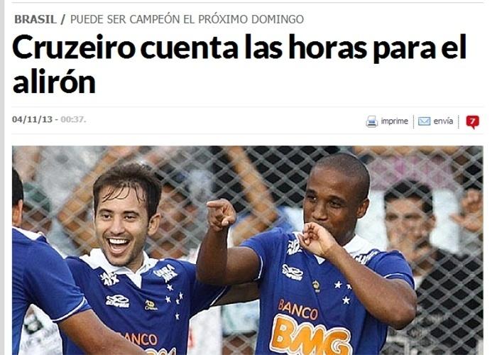 Segunda-feira (4.nov.2013) - A possibilidade de o Cruzeiro confirmar matematicamente o título brasileiro no próximo domingo (10), contra o Grêmio, no Mineirão, repercutiu na imprensa europeia, especialmente nos portais dedicado ao futebol. O jornal espanhol Marca (foto) estampa a manchete